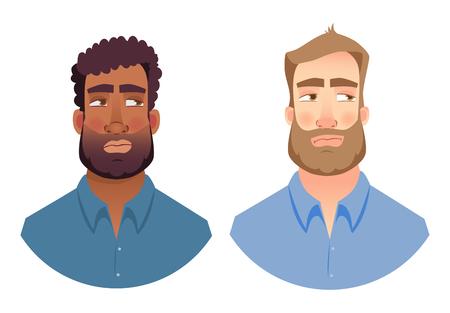 Portrait man. Emotions of man face. Vector illustration set Фото со стока - 114166143