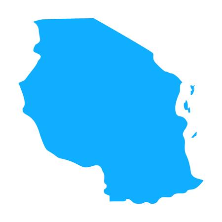 map of Tanzania. Silhouette of Tanzania map vector illustration