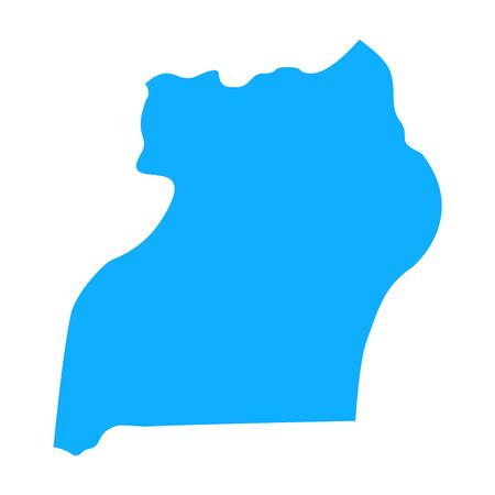 map of Uganda. Silhouette of Uganda map vector illustration