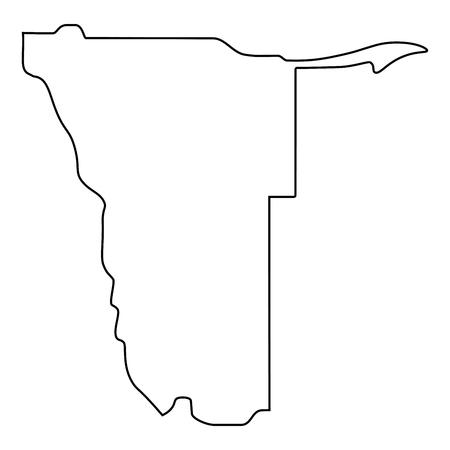 kaart van Namibië - overzicht. Silhouet van Namibië kaart vectorillustratie