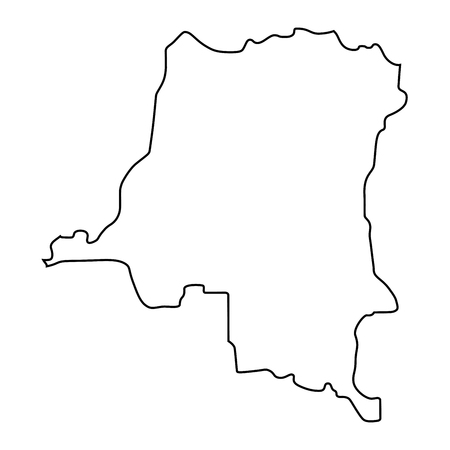map of Democratic Republic of the Congo - outline. Silhouette of Democratic Republic of the Congo map vector illustration Standard-Bild - 126664928