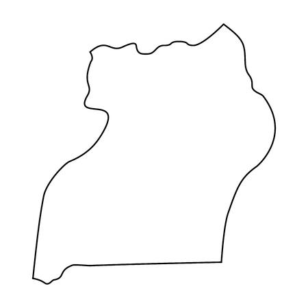 map of Uganda - outline. Silhouette of Uganda map vector illustration