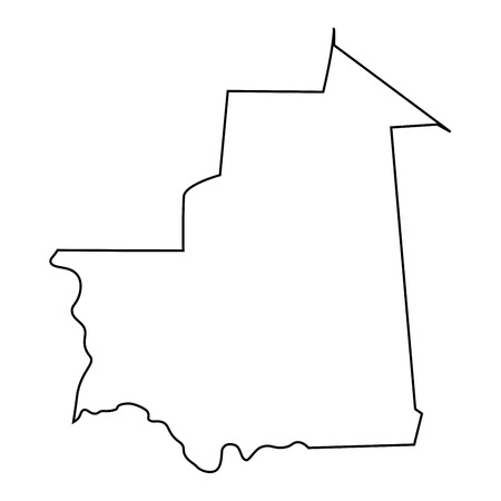 map of Mauritania - outline. Silhouette of map of Mauritania vector illustration