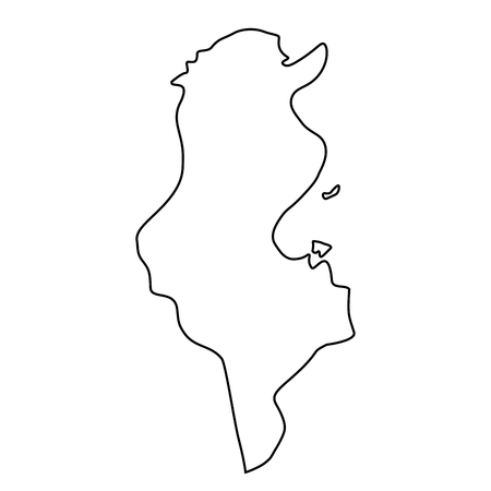 map of Tunisia - outline. Silhouette of map of Tunisia vector illustration