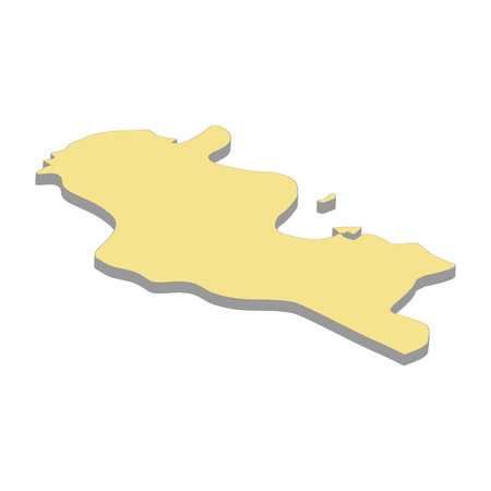 3d map of Tunisia. Silhouette of map of Tunisia vector illustration