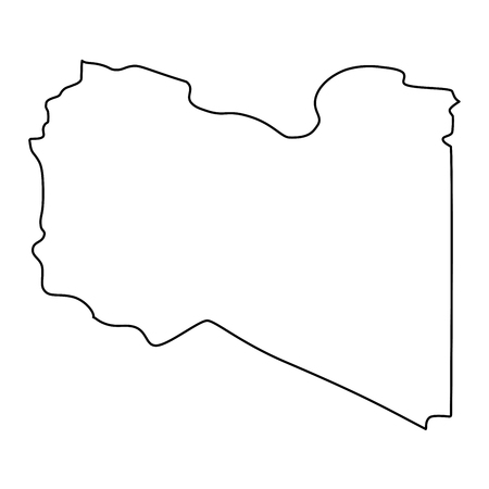 map of Libya - outline. Silhouette of map of Libya  illustration Stock Photo
