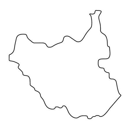 map of South Sudan - outline. Silhouette of South Sudan map  illustration Stockfoto