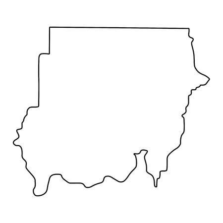 map of Sudan - outline. Silhouette of Sudan map  illustration
