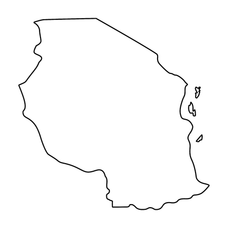 map of Tanzania - outline. Silhouette of Tanzania map  illustration Stok Fotoğraf