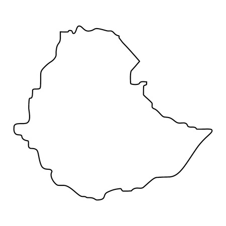 map of Ethiopia -outline. Silhouette of Ethiopia map  illustration