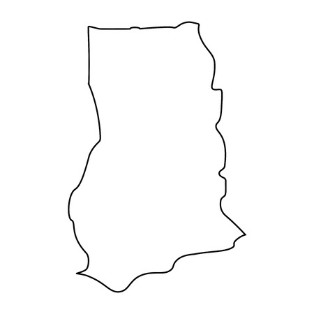 map of Ghana - outline. Silhouette of Ghana map  illustration 스톡 콘텐츠