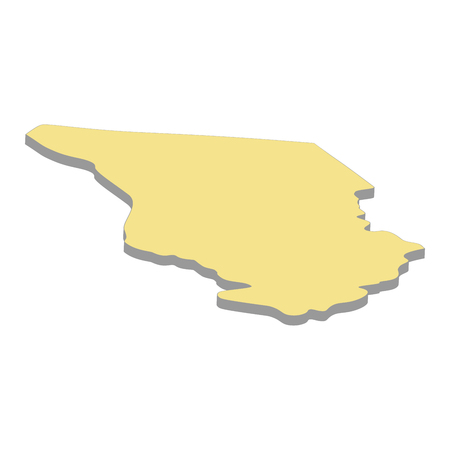3d map of Chad. Silhouette of map of Chad  illustration Фото со стока