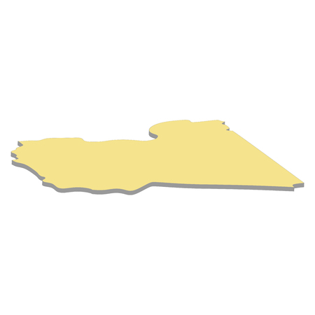 3d map of Libya. Silhouette of map of Libya  illustration
