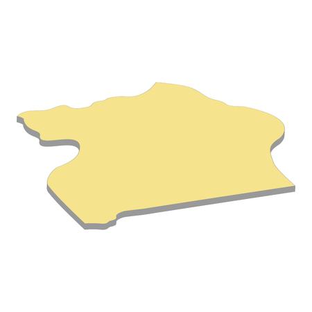 3d map of Uganda. Silhouette of Uganda map  illustration