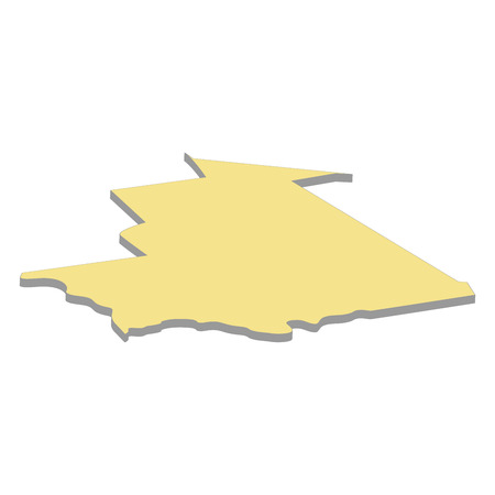 3d map of Mauritania. Silhouette of map of Mauritania  illustration