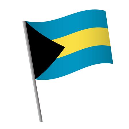 Bahamas flag icon. National flag of Bahamas on a pole vector illustration.
