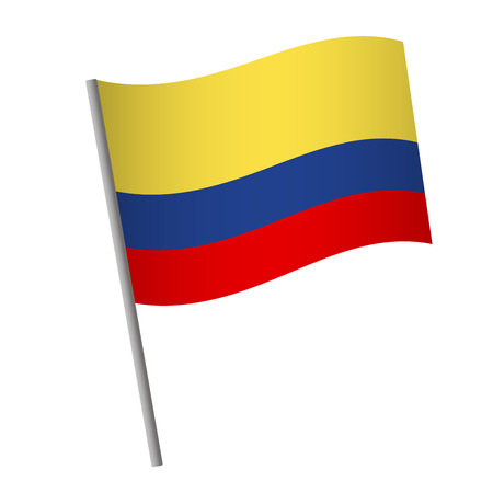 Colombia flag icon. National flag of Colombia on a pole vector illustration.