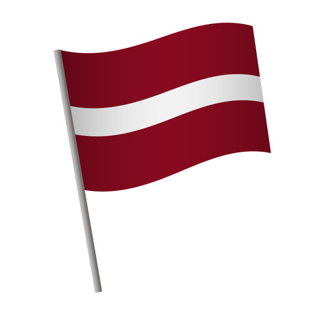 Latvia flag icon. National flag of Latvia on a pole vector illustration.