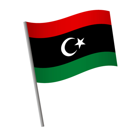 Libya flag icon. National flag of Libya on a pole vector illustration.