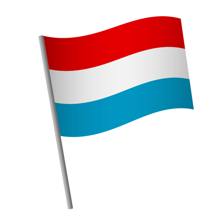Luxembourg flag icon. National flag of Luxembourg on a pole vector illustration.