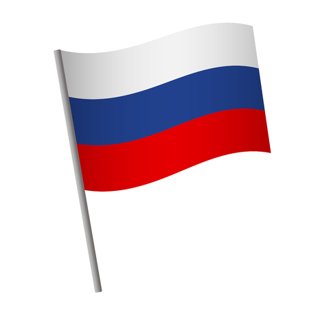 Russia flag icon. National flag of Russia on a pole vector illustration. Stock Illustratie