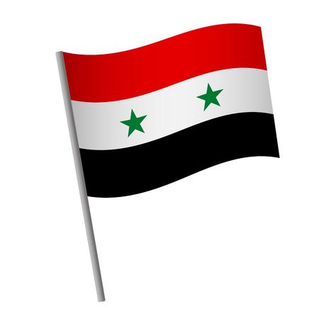Syria flag icon. National flag of Syria on a pole vector illustration. Illustration