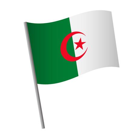 Algeria flag icon. National flag of Algeria on a pole  illustration.