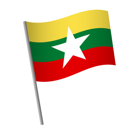 Burma flag icon. National flag of Burma on a pole  illustration.