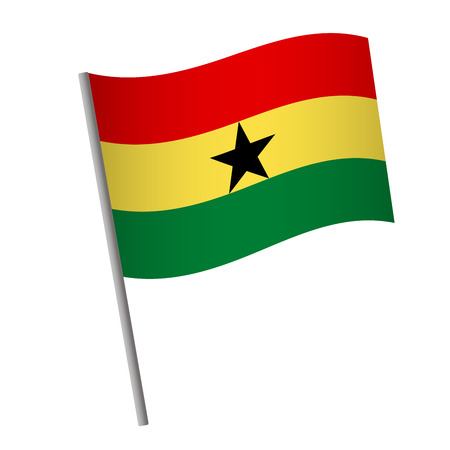 Ghana flag icon. National flag of Ghana on a pole  illustration.