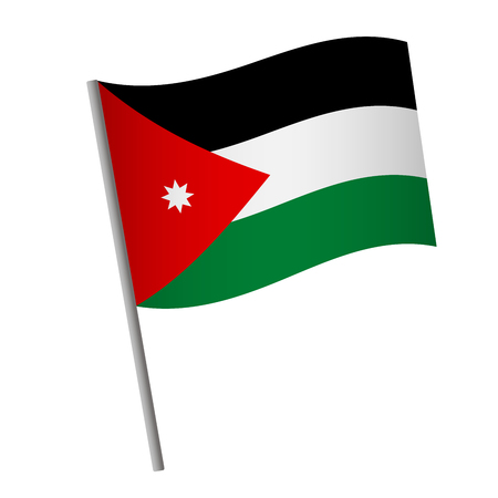 Jordan flag icon. National flag of Jordan on a pole  illustration. 스톡 콘텐츠