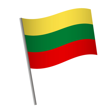 Lithuania flag icon. National flag of Lithuania on a pole  illustration.