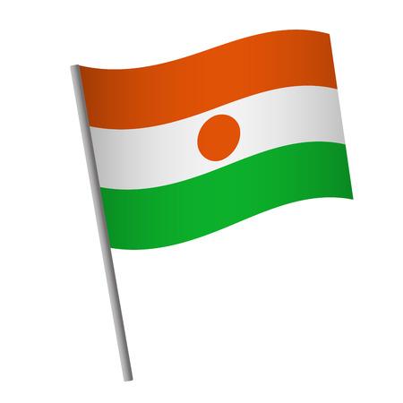 Niger flag icon. National flag of Niger on a pole  illustration.