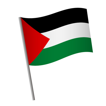 Palestine flag icon. National flag of Palestine on a pole  illustration.
