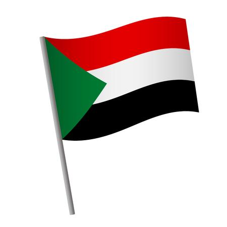 Sudan flag icon. National flag of Sudan on a pole  illustration.