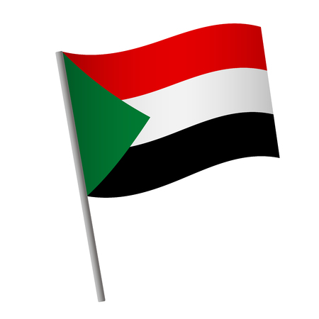 Sudan flag icon. National flag of Sudan on a pole  illustration.