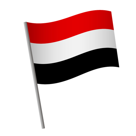 Yemen flag icon. National flag of Yemen on a pole  illustration.
