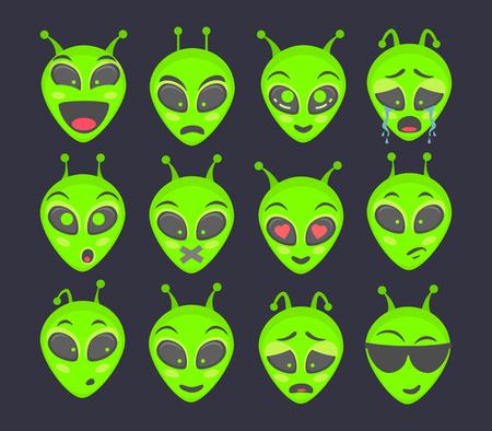 Alien head. Alien face emoji. Humanoid icon vector illustration set Vetores