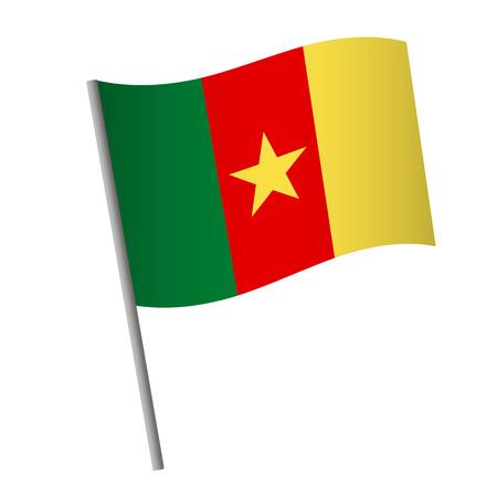Cameroon flag icon. National flag of Cameroon on a pole vector illustration. Ilustração