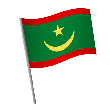 Mauritania flag icon. National flag of Mauritania on a pole vector illustration.