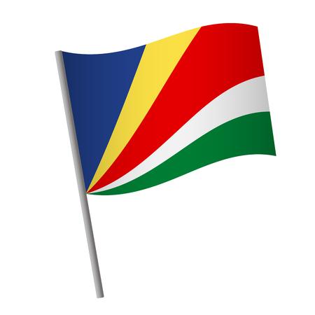 Seychelles flag icon. National flag of Seychelles on a pole vector illustration.