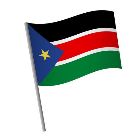 South Sudan flag icon. National flag of South Sudan on a pole vector illustration.