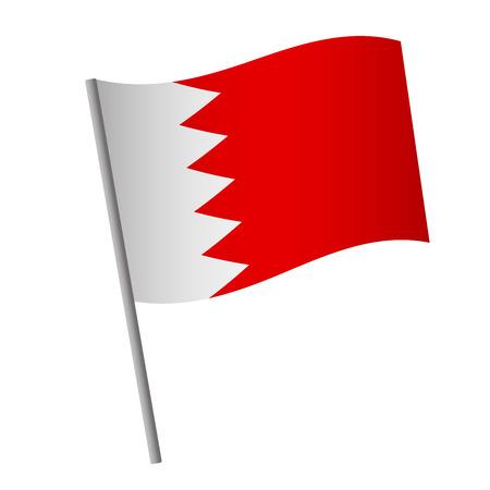 Icône de drapeau de Bahreïn. Drapeau national de Bahreïn sur une illustration vectorielle de poteau.