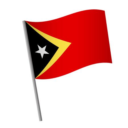 East Timor flag icon. Timor-leste flag icon. National flag of East Timor on a pole vector illustration.