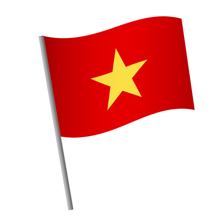Vietnam flag icon. National flag of Vietnam on a pole vector illustration.