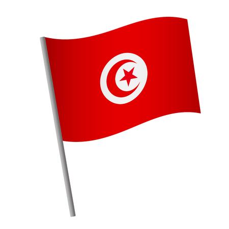 Tunisia flag icon. National flag of Tunisia on a pole  illustration.