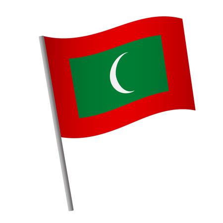 Maldives flag icon. National flag of Maldives on a pole vector illustration.