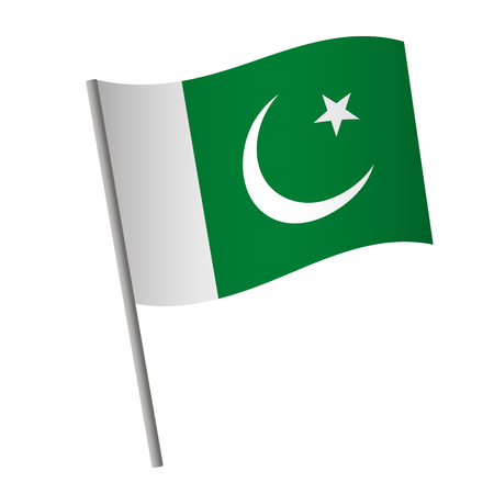 Pakistan flag icon. National flag of Pakistan on a pole vector illustration.