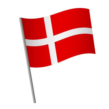 Denmark flag icon. National flag of Denmark on a pole vector illustration.