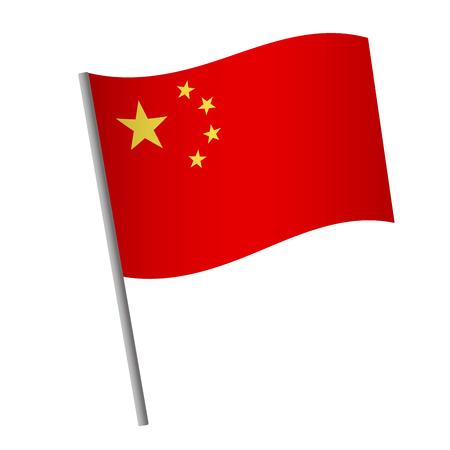 China flag icon. National flag of China on a pole illustration. Stockfoto