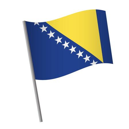 Bosnia and Herzegovina flag icon. National flag of Bosnia and Herzegovina on a pole vector illustration. Illustration